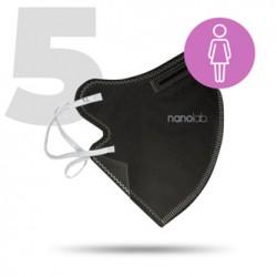 Nano, do prania Maseczka ochronna, FFP2, czarny, damska, 5ks, Nanolab