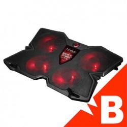 Stojak pod notebook, FN-38 RD, podświetlany, z wiatrakiem, czarno-czerwony, Marvo, hub, LED, .A-D, B