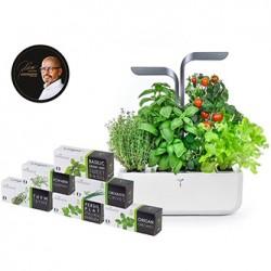 Inteligentna doniczka Potager Connect, biały, z zestawem 6 roślin, Infinity Grey, Véritable