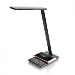 Lampka LED z ładowarką indukcyjną stmívatelná, czarna, 5V/9V, micro USB, Wyjście USB, adapter QC, Qi