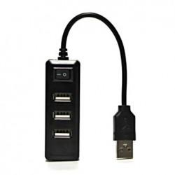 USB (2.0) HUB 4-port, 330, czarna, délka kabelu 15cm, możliwość wyłączenia całego HUBa